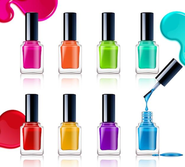 Nail polish assortment Free Vector