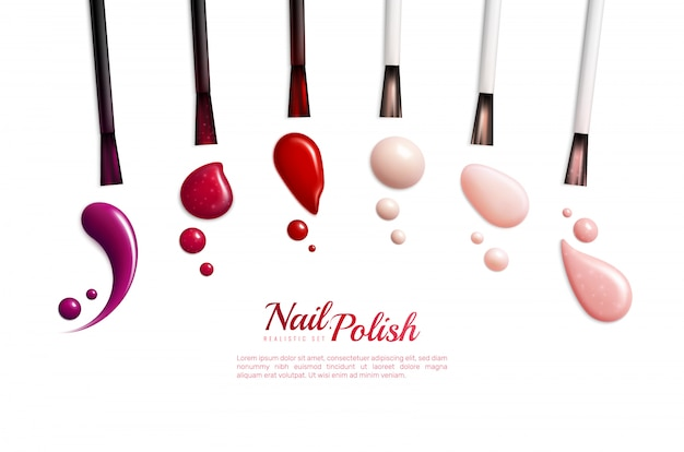 Nail polish smears realistic isolated icon set with different colors and styles  illustration Free Vector