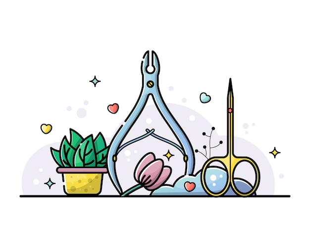 Nail salon and manicure tools illustration Premium Vector
