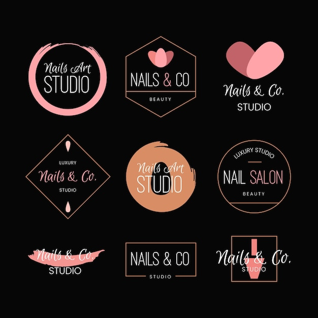 Коллекция логотипов nails art studio Premium векторы