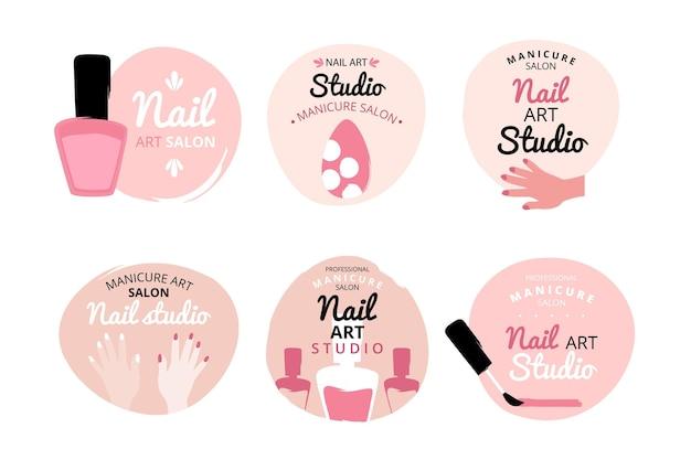 Набор логотипов nails art studio Premium векторы