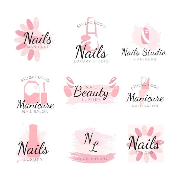Nails art studio logos template Free Vector