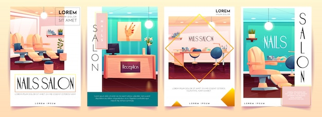 Nails salon poster collection Free Vector