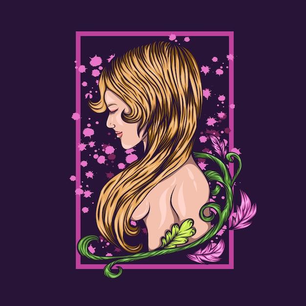 Naked girl  flower vector illustration Premium Vector