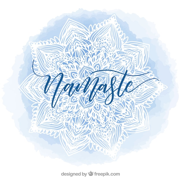 Namaste blue watercolor background with mandala