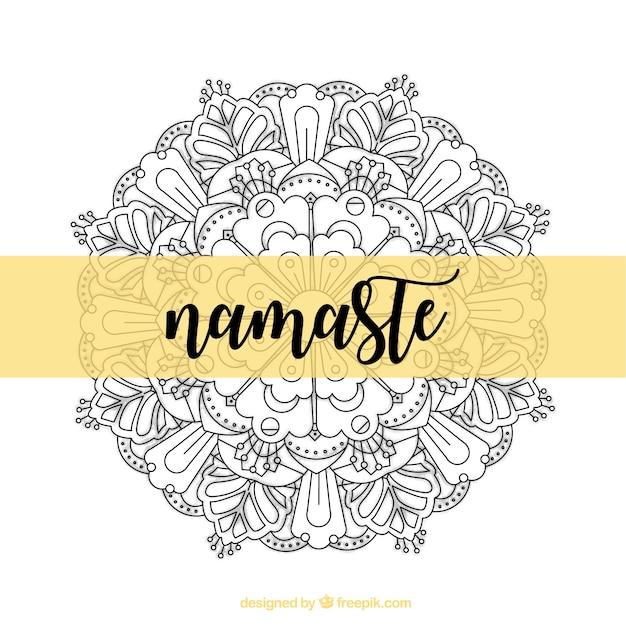 Namaste decorative background with hand drawn mandala