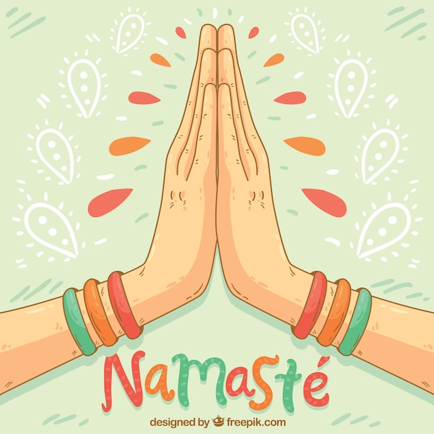 Namaste gesture with hand drawn style Free Vector
