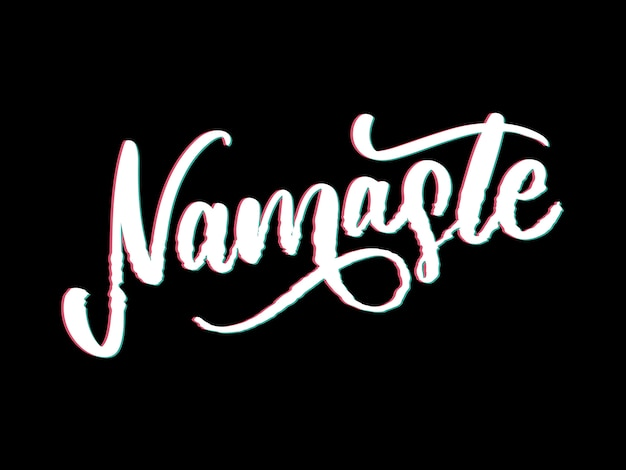 Namaste lettering indian greeting Premium Vector