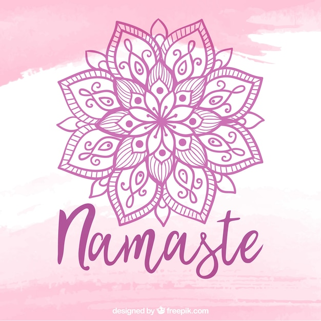 Namaste lettering with mandala Free Vector