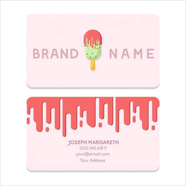 Name Card Bussiness Ice Cream Pink Color Flat Design