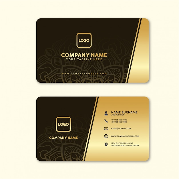 Name card elegant gold with ornament background Vector ...