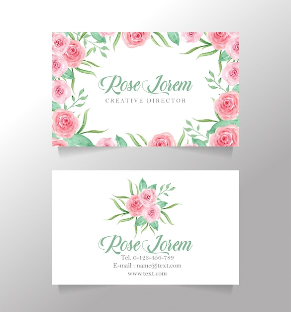 Name card white and flower template Premium Vector