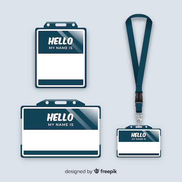 name tag template collection with realistic design vector free