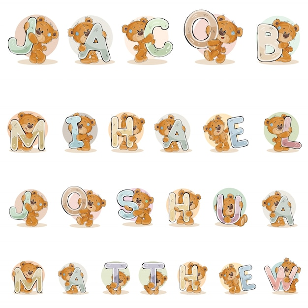 Names for boys jacob, mihael, joshua, matthew made decorative letters with teddy bears Free Vector
