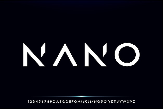 Nano, абстрактный футуристический шрифт алфавит с технологией темы. современный минималистичный дизайн типографики Premium векторы