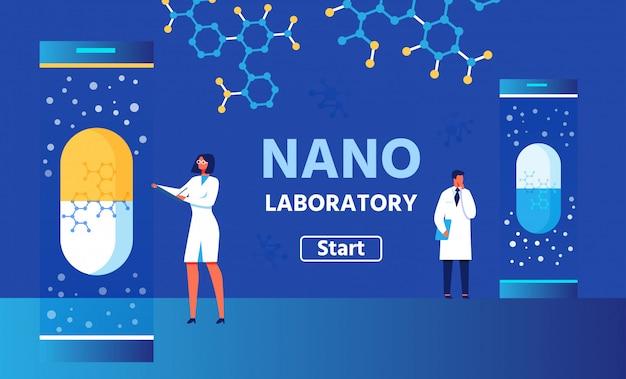 Nano laboratory color banner с кнопкой запуска. вектор мужчина и женщина исследователи Premium векторы