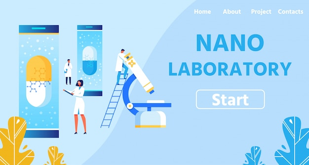 Нано лаборатория с современным оборудованием landing page Premium векторы