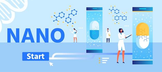 Целевая страница мультфильма по разработке нано лекарственных препаратов Premium векторы