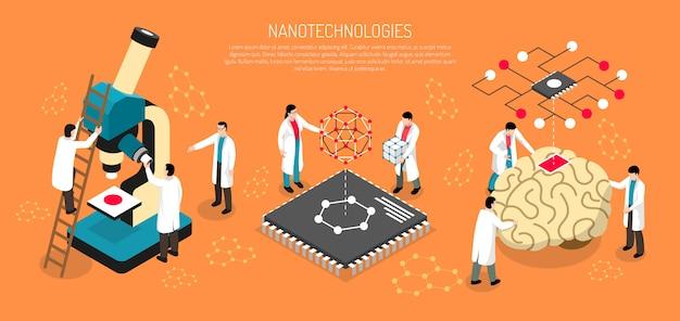 Nano technologies horizontal banner Free Vector
