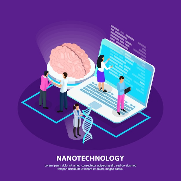 Nano technology isometric gradient background Free Vector