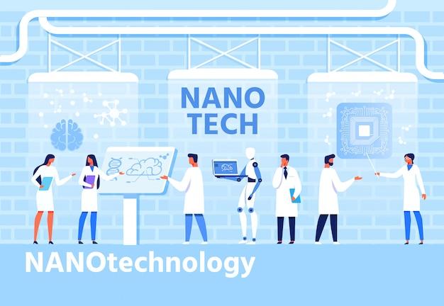 Nano techology development flat cartoon banner Premium Vector