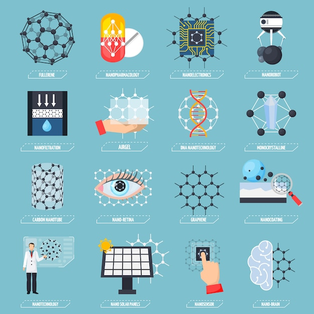 Nanotechnologies icons set Free Vector