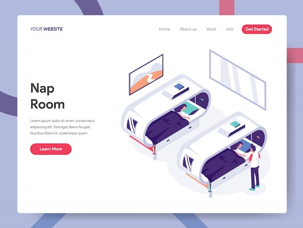 Nap room landing page Premium Vector