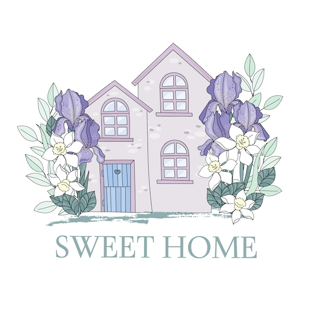 Narcissus garden flower home cartoon vector Premium Vector