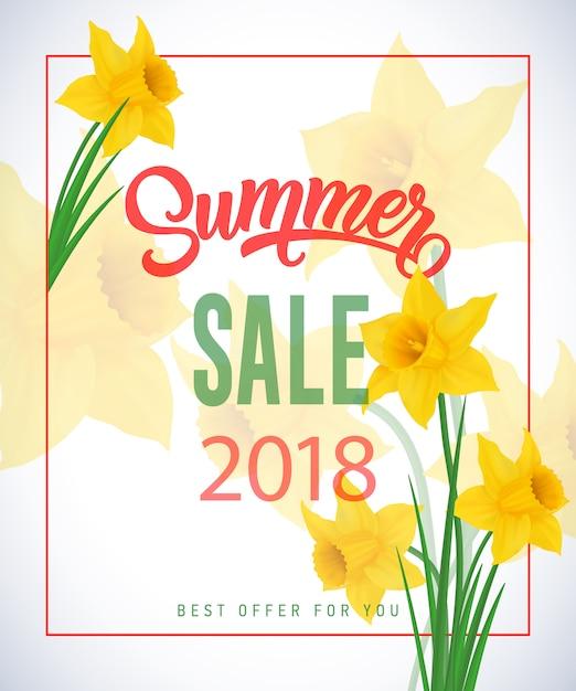 透明な背景にnarcissusesとフレームの夏の販売2018レタリング。 無料ベクター