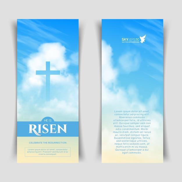 狭い垂直ベクトルバナー。イースターのお祝いのためのキリスト教の宗教的なデザイン。 Premiumベクター