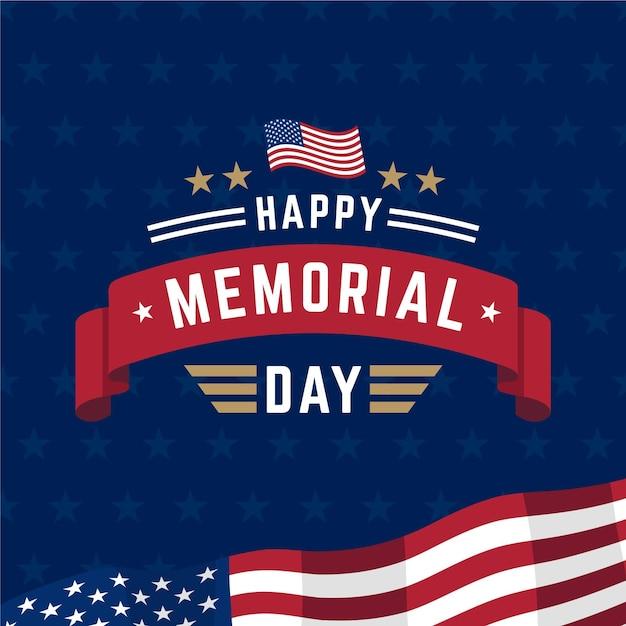 National american memorial day flat design Free Vector