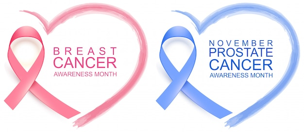 National breast cancer awareness month. poster pink ribbon, text and heart shape. november prostate cancer awareness blue ribbon and heart symbol Premium Vector