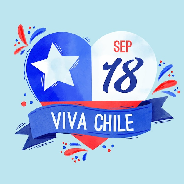National day of chile and their flag Premium Vector