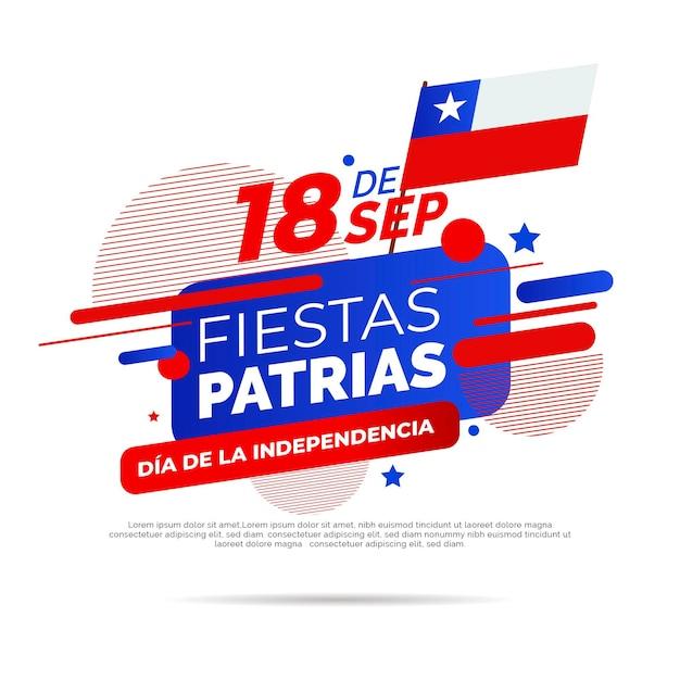 Национальный день чили с флагом Бесплатные векторы