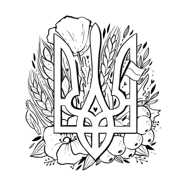 The national emblem of ukraine, state coat of arms of ukraine with viburnum, wheat ears, flag, birds, poppies. coloring page for children and adults Premium Vector