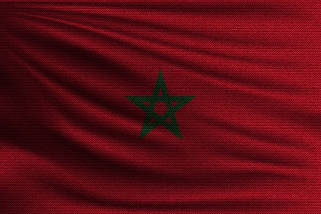 The national flag of morocco. Premium Vector