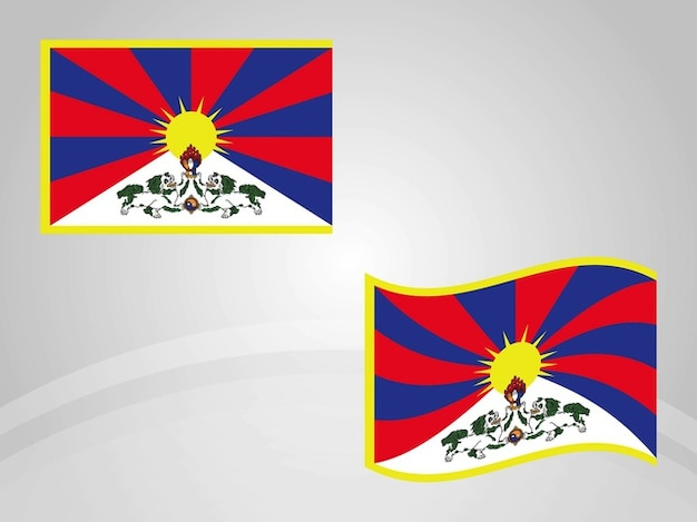 National flag of Tibet country vector