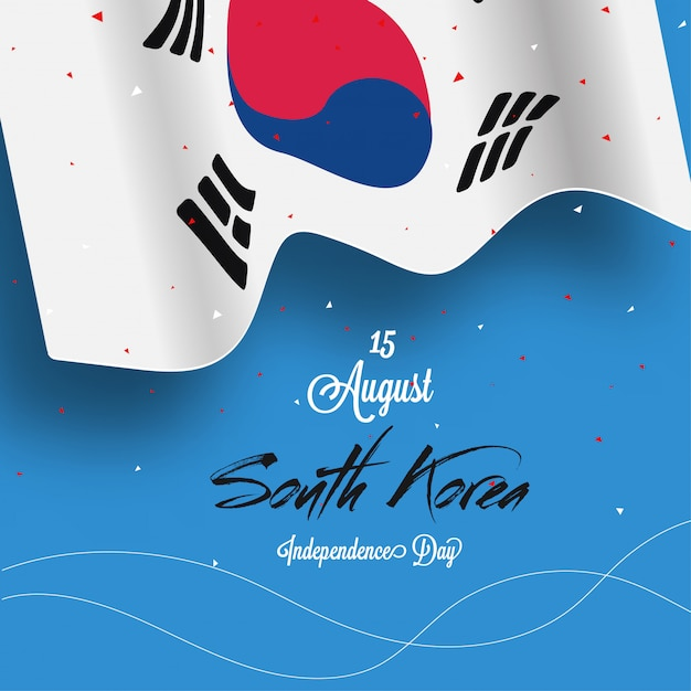 National flag of south korea on sky blue background Premium Vector