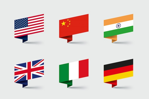 国旗3 d折り紙リボン形状セット Premiumベクター