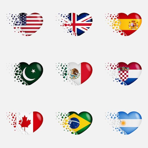 ハートのイラストの国旗。国への愛を込めて。小さな心を飛ぶの国旗 Premiumベクター
