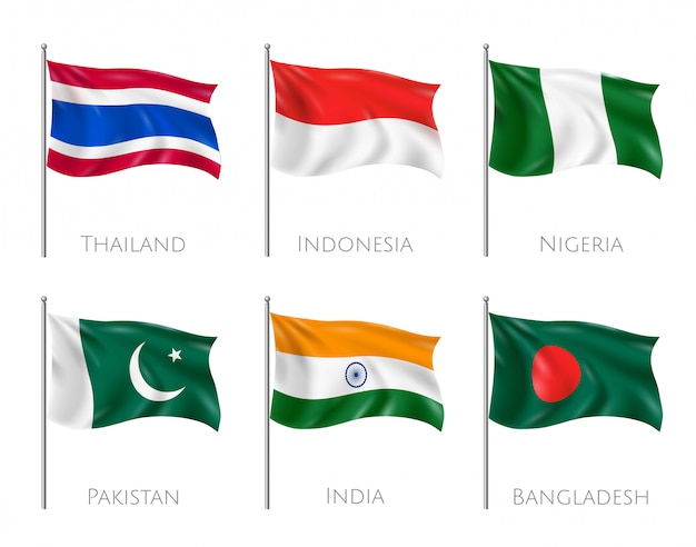 National flags set with thailand and indonesia flags realistic isolated Free Vector