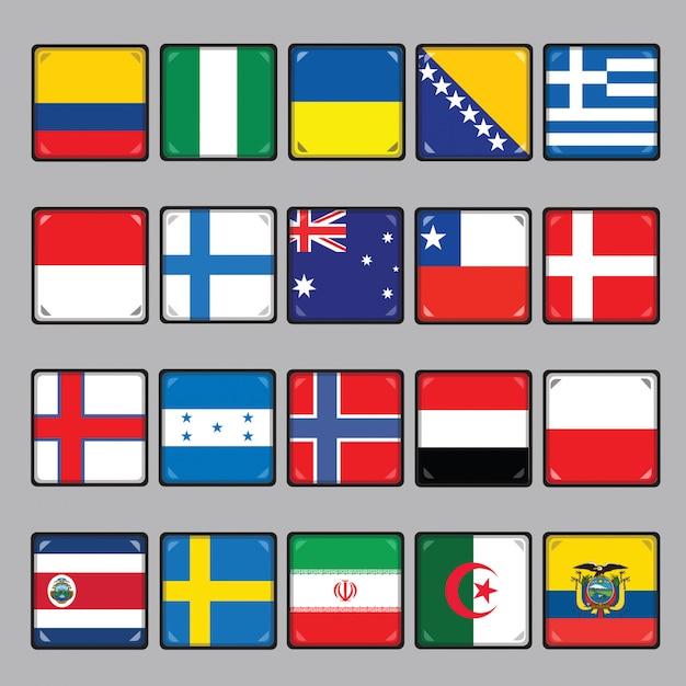 Национальные флаги Premium векторы