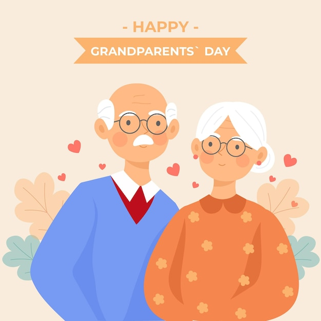 祖父母の日背景フラットデザイン 無料ベクター