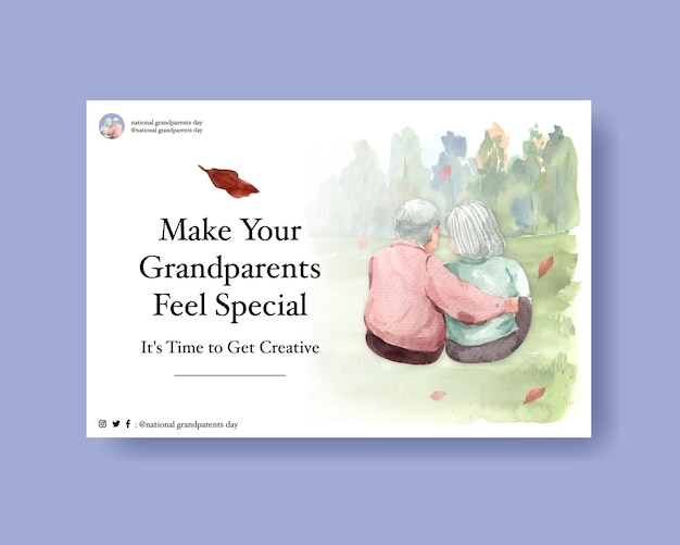 National grandparents day concept design for social media and online marketing watercolor vector. Free Vector