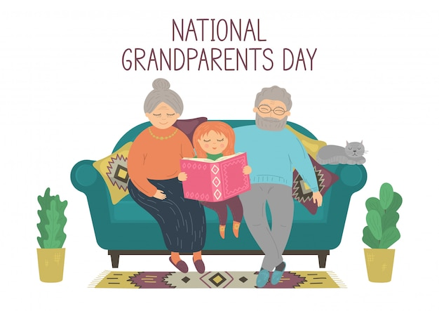 National grandparents day. happy grandparents reading book with grandaughter. senior man, senior woman and kid sitting on sofa at home. Premium Vector