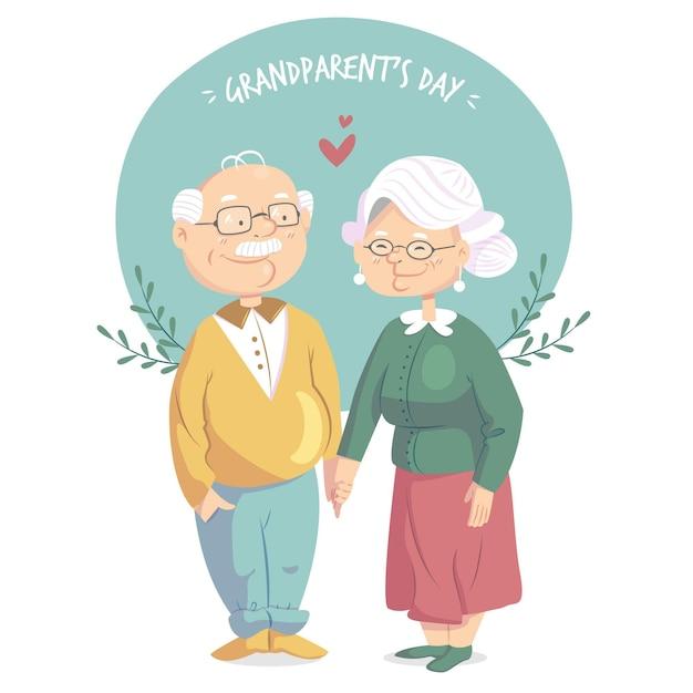 Национальный день бабушки и дедушки в плоском дизайне Бесплатные векторы