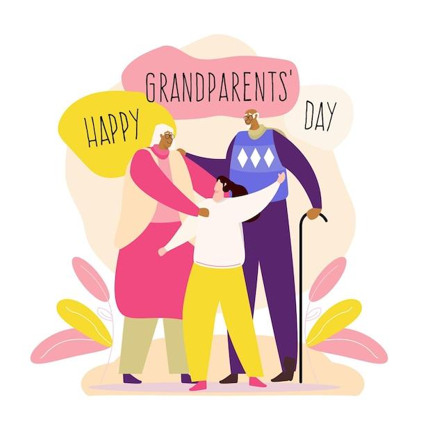 Национальный день бабушки и дедушки (сша) в плоском дизайне Бесплатные векторы
