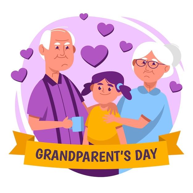 Национальный день бабушки и дедушки с парой и племянницей Бесплатные векторы