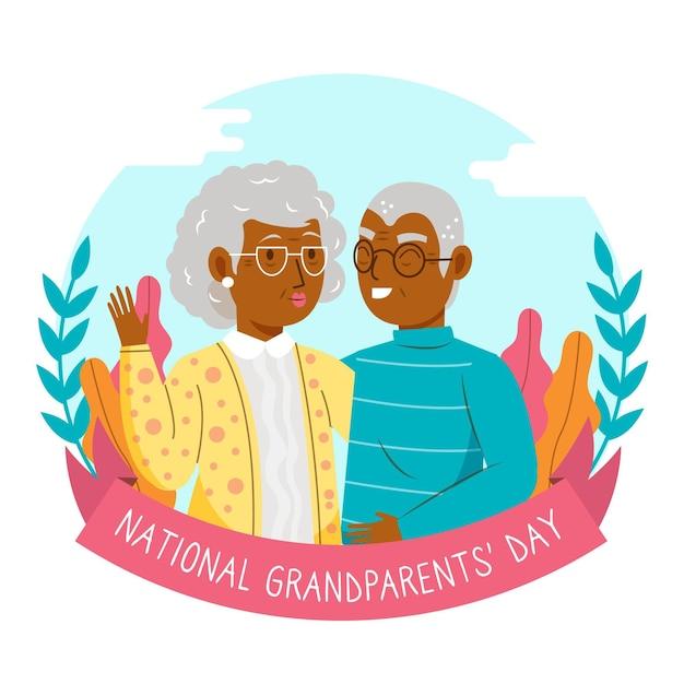 Национальный день бабушки и дедушки со старшей парой Бесплатные векторы