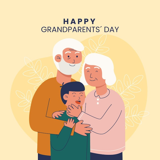 National grandparents' day with grandparents and nephew Free Vector